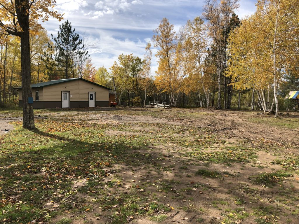 New Lakeside Lodge is in progress, this is the site for 4 new cabins (2 already in place), winterized kitchen, meeting space, and bathrooms all in one building. See our giving page for project progress.